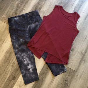 Modal Workout Tank and Tie Dye Workout Leggings | Workout Set Size Medium